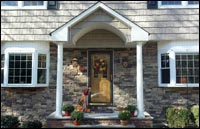 Hand Split Vinyl Shake Siding with Decorative Stone plus Portocal Front Porch in Succasunna, NJ